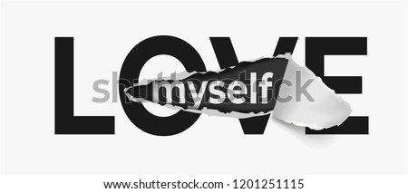 love slogan on ripped paper
