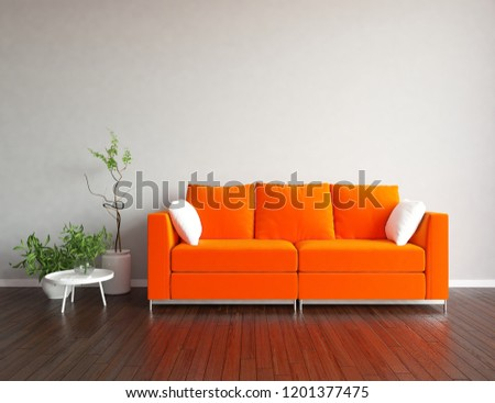 Idea of a white scandinavian living  room interior with  sofa, vases on the wooden floor and decor on the large wall and white landscape in window. Home nordic interior. 3d illustration #1201377475