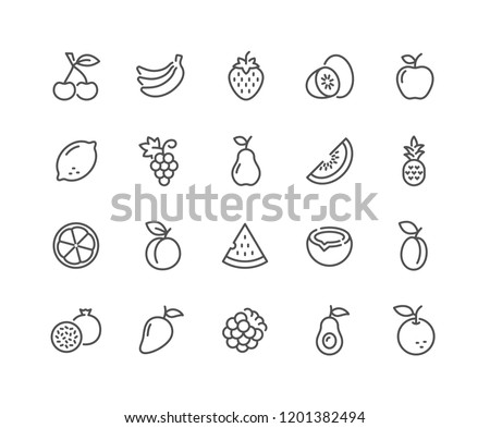 Simple Set of Fruits Related Vector Line Icons. Contains such Icons as Strawberry, Orange, Watermelon and more. Editable Stroke. 48x48 Pixel Perfect. Royalty-Free Stock Photo #1201382494