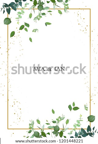 Herbal minimalistic vector frame. Hand painted plants, branches, leaves on white background. Greenery wedding square invitation. Watercolor style. Gold line art. All elements are isolated and editable #1201448221