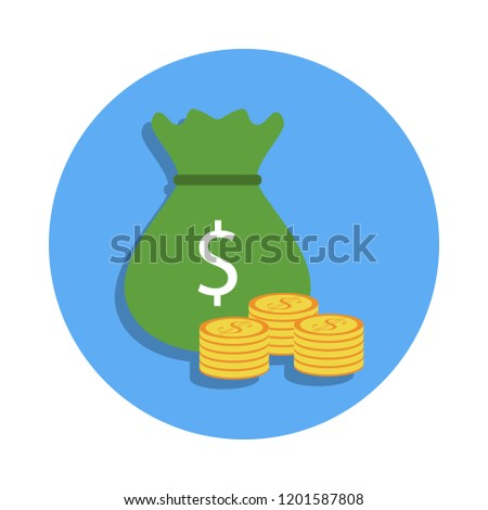 bag of money and coins colored icon in badge style. One of Banking collection icon can be used for UI, UX #1201587808