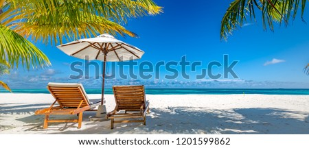 Tropical paradise beach with white sand and coco palms travel tourism wide panorama background. Luxury vacation and holiday banner, tropical beach resort concept. Beautiful beach design #1201599862