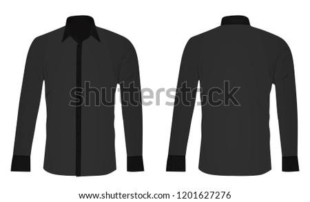 Grey long sleeved shirt. vector illustration #1201627276