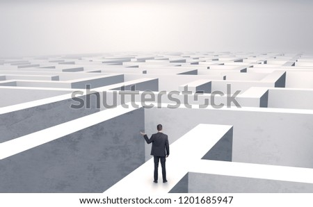Small businessman in a middle of a huge maze #1201685947
