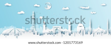 Panorama of top world famous landmark of Pakistan,paper cut style vector illustration. #1201773169
