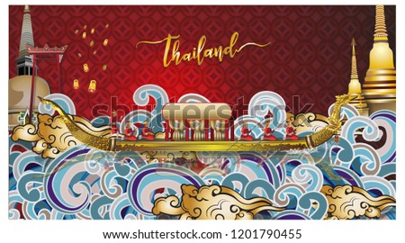Travel composition with famous world landmarks. Travel and Tourism. Vector illustration 3D vector illustration of Info graphic elements for traveling to Thailand, concept Travel to Thailand.  #1201790455