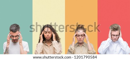 Collage of a group of people isolated over colorful background with hand on head for pain in head because stress. Suffering migraine. #1201790584