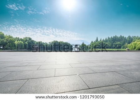 Empty floor and beautiful west lake scenery in hangzhou #1201793050