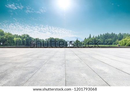 Empty floor and beautiful west lake scenery in hangzhou #1201793068