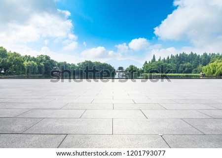 Empty floor and beautiful west lake scenery in hangzhou #1201793077