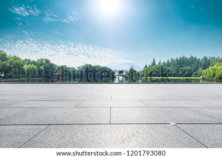 Empty floor and beautiful west lake scenery in hangzhou #1201793080