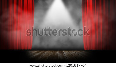 Red stage curtain with smoke background #1201817704