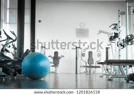 Interior of modern gym with equipment. Exercise blue color ball in fitness, gym equipment and fitness balls in sports club.  #1201826158