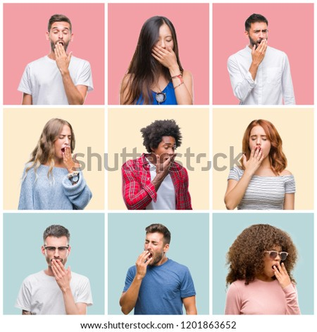 Collage of group of young people woman and men over colorful isolated background bored yawning tired covering mouth with hand. Restless and sleepiness. #1201863652