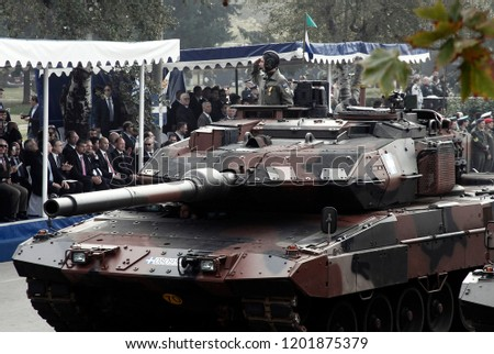 Military vehicles are driven during a military parade marking Greece's Independence Day in Thessaloniki, Greece on Oct. 28 2013 #1201875379