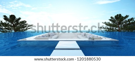 3D rendering : illustration of a soft sofa with sea view. sun loungers on private deck over swimming pool at luxury villa resort. travel in summer time concept. summer vacation travel. #1201880530
