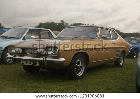 30th September 2018- A stylish Ford Capri Mk1 1600 at a classic car show in Pembrey Country Park near Llanelli, Carmarthenshire, Wales, UK. #1201906081