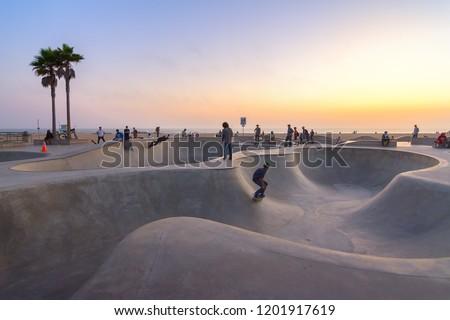 Skate board park in Venice beach at sunset, California, Usa #1201917619
