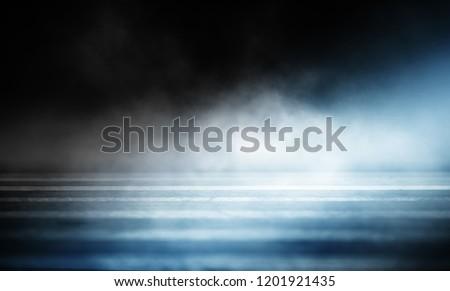 Background of an empty dark room. Empty walls, neon light, smoke, glow #1201921435