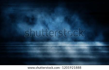 Background of an empty dark room. Empty walls, neon light, smoke, glow #1201921888
