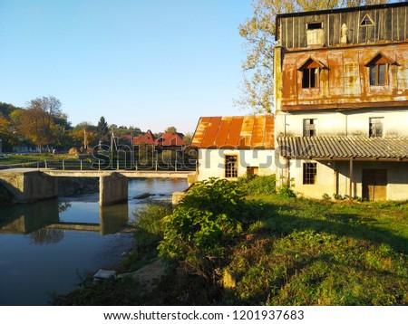 Ukraine,Transcarpathian region,village Velikiye Komyati-October 7,2018:An old water mill #1201937683