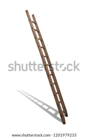 old wooden ladder in front of white #1201979233
