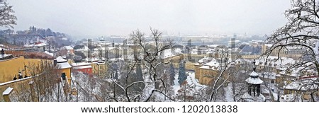 A panoramic view of prague city from prague castle in winter time #1202013838