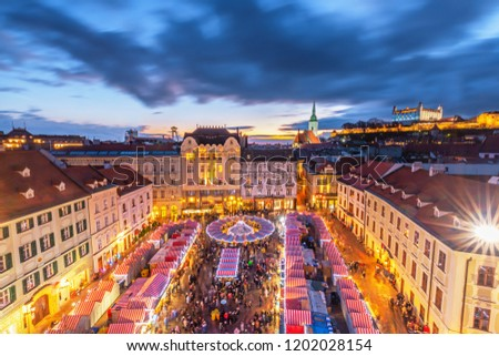 View on main square and Christmas market in historical center of Bratislava city, Slovakia. #1202028154