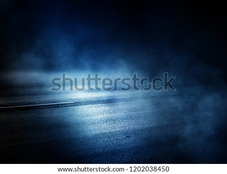 Background of an empty dark room. Empty walls, neon light, smoke, glow #1202038450