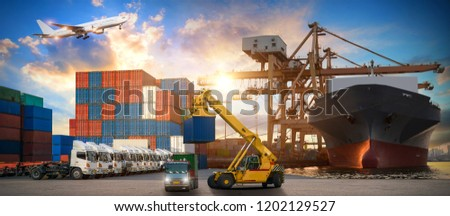 Logistics and transportation of Container Cargo ship and Cargo plane with working crane bridge in shipyard at sunrise, logistic import export and transport industry background #1202129527