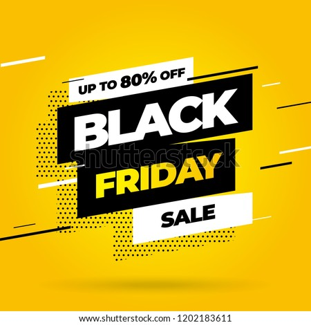 Black Friday sale inscription design template. Yellow banner Black Friday. Vector illustration eps 10. #1202183611