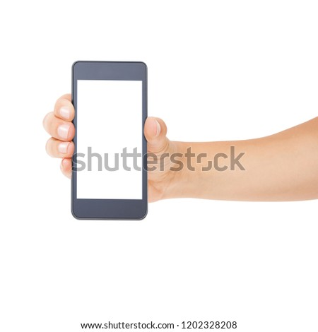 Woman hand holding the white smartphone isolated. Female hands showing smart phone of blank white touch screen, front view. #1202328208