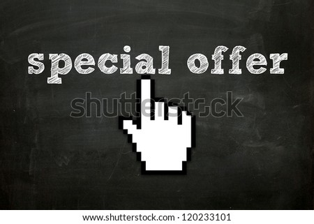 """custom made hand cursor clicking """"special offer"""" text on blackboard Royalty-Free Stock Photo #120233101"""