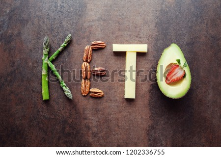 Keto word made from ketogenic food #1202336755
