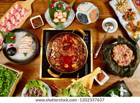 A view of a hotpot set meal #1202337637