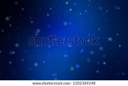 Dark BLUE vector cover with beautiful snowflakes. Blurred decorative design in xmas style with snow. New year design for your ad, poster, banner. #1202369248