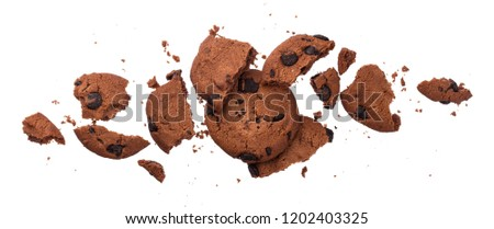 Broken chocolate chip cookies isolated on white background with clipping path. Collection #1202403325