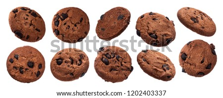 Chocolate chip cookies isolated on white background with clipping path. Collection #1202403337