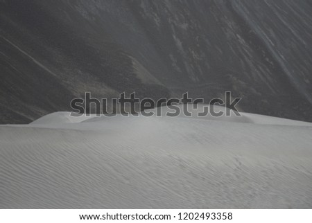 Nature Scene of white Sand dune and Gray mountain background at Hunder Sand dune Nubra Valley , Leh Ladakh , India #1202493358