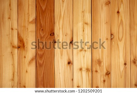 Closeup yellow wood texture background. Wood texture with unique pattern.Empty brown wooden wall. Wooden board. Orange wood timber. Surface of wood with art pattern. Brown background for product. #1202509201
