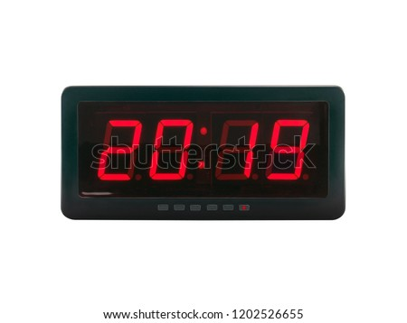 close up red led light illumination numbers 2019 on black digital electric alarm clock face isolated on white background, time symbol concept for celebrating the New Year #1202526655