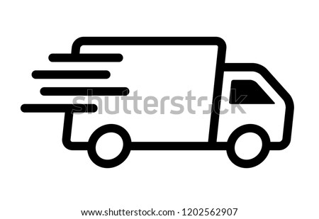 Fast moving shipping delivery truck line art vector icon for transportation apps and websites Royalty-Free Stock Photo #1202562907