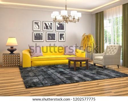 Interior of the living room. 3D illustration #1202577775