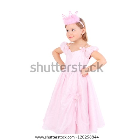 cute sweet emotional little child dressed as a princess #120258844