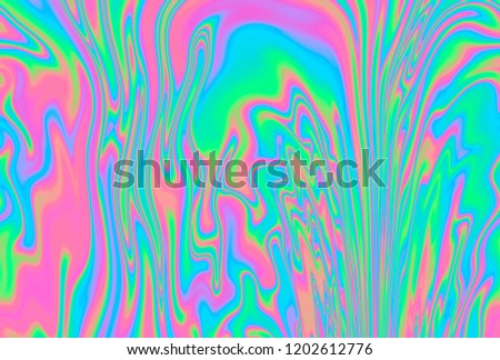Holographic rainbow stains, iridescent colorful psychedelic texture in pastel / neon color design. Consept illustration of altered state of consciousness. #1202612776
