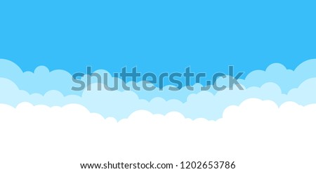 Blue sky with white clouds background. Border of clouds. Simple cartoon design. Flat style vector illustration.  Royalty-Free Stock Photo #1202653786