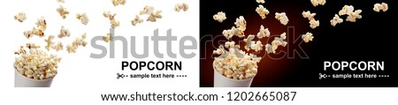 Popcorn flying out of cardboard box. Isolated on white and black backgrounds with copy space #1202665087