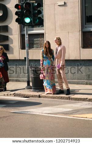 Milan, Italy - September 22, 2018: Street style outfits during Milan Fashion Week - - MFWSS19 #1202714923