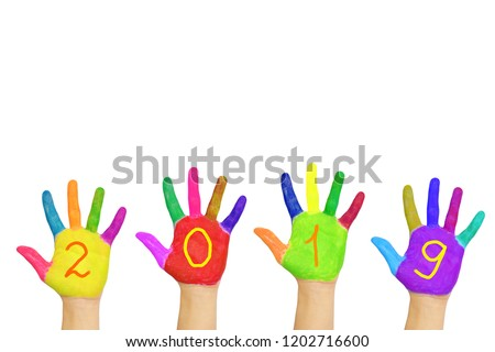 Kids colorful hands forming number 2019. Isolated on white background. Children's joy and happiness. Family fun. The symbol of the new year. Party and holidays concept. Children are happy.