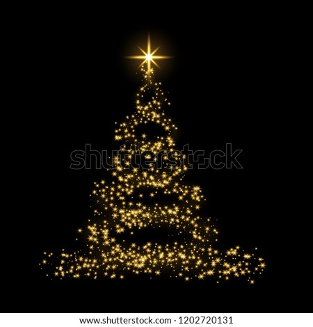Christmas tree card background. Gold Christmas tree as symbol of Happy New Year, Merry Christmas holiday celebration. Golden light decoration. Bright shiny design Vector illustration #1202720131